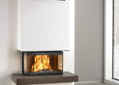 Caminetto a legna con fuoco visibile su tre lati TECH 3 Caminetti Montegrappa_slide_panca_aredilizia