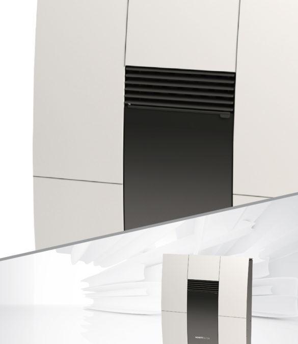 Stufa  a pellet  Slim Moretti Design  COMPACT GLASS VEN.\CANALIZZATA