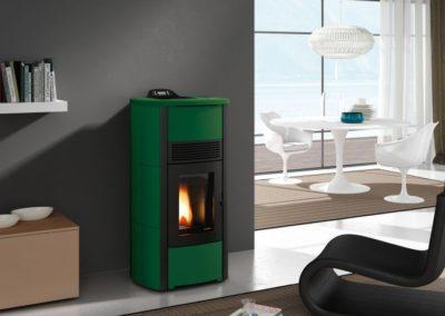 AR Edilizia - Stufa a pellet Ecofire Camilla Idro 10-15 acqua Ceramica Verde