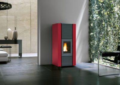 Stufa a pellet Ecofire Martina Idro Lux bordeaux